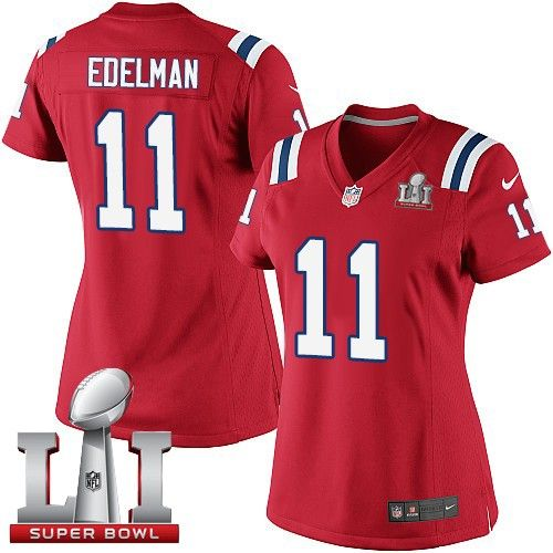 062c52113ca Women s Nike New England Patriots  11 Julian Edelman Elite Red Alternate Super  Bowl LI 51