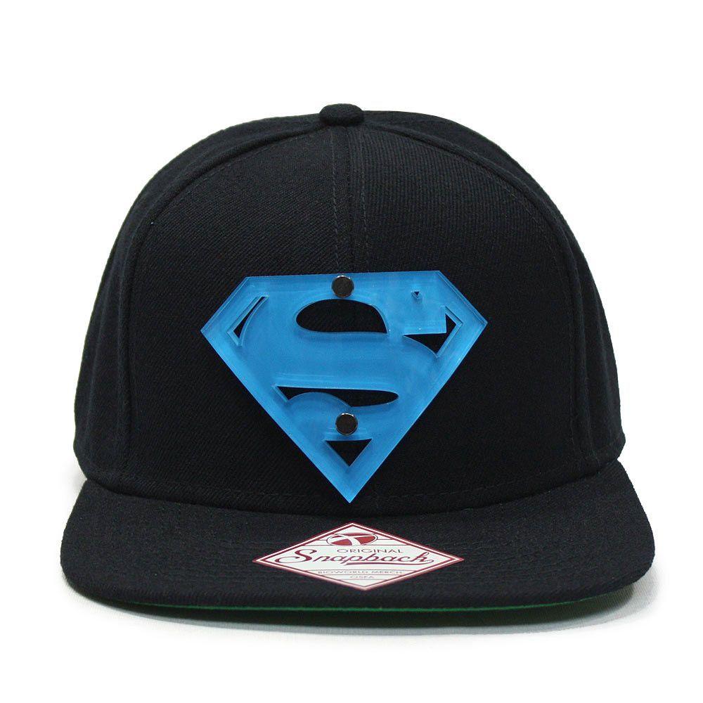 Superman Acrylic Logo Flat Brim Adjustable Snapback Baseball Cap ... f003ff8ae2