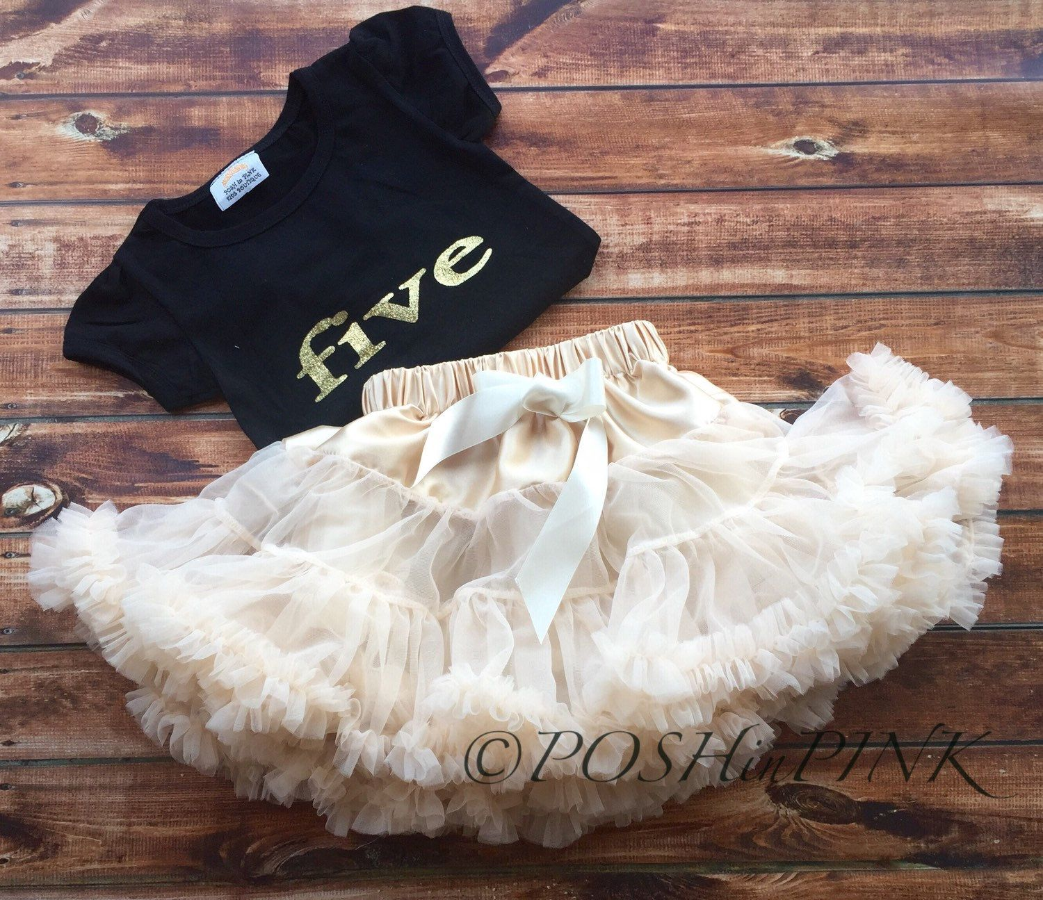 Five Year Old Birthday Outfit Gold Lettering Ivory Petti Skirt Chiffon Girls Party Toddler 5 Cream