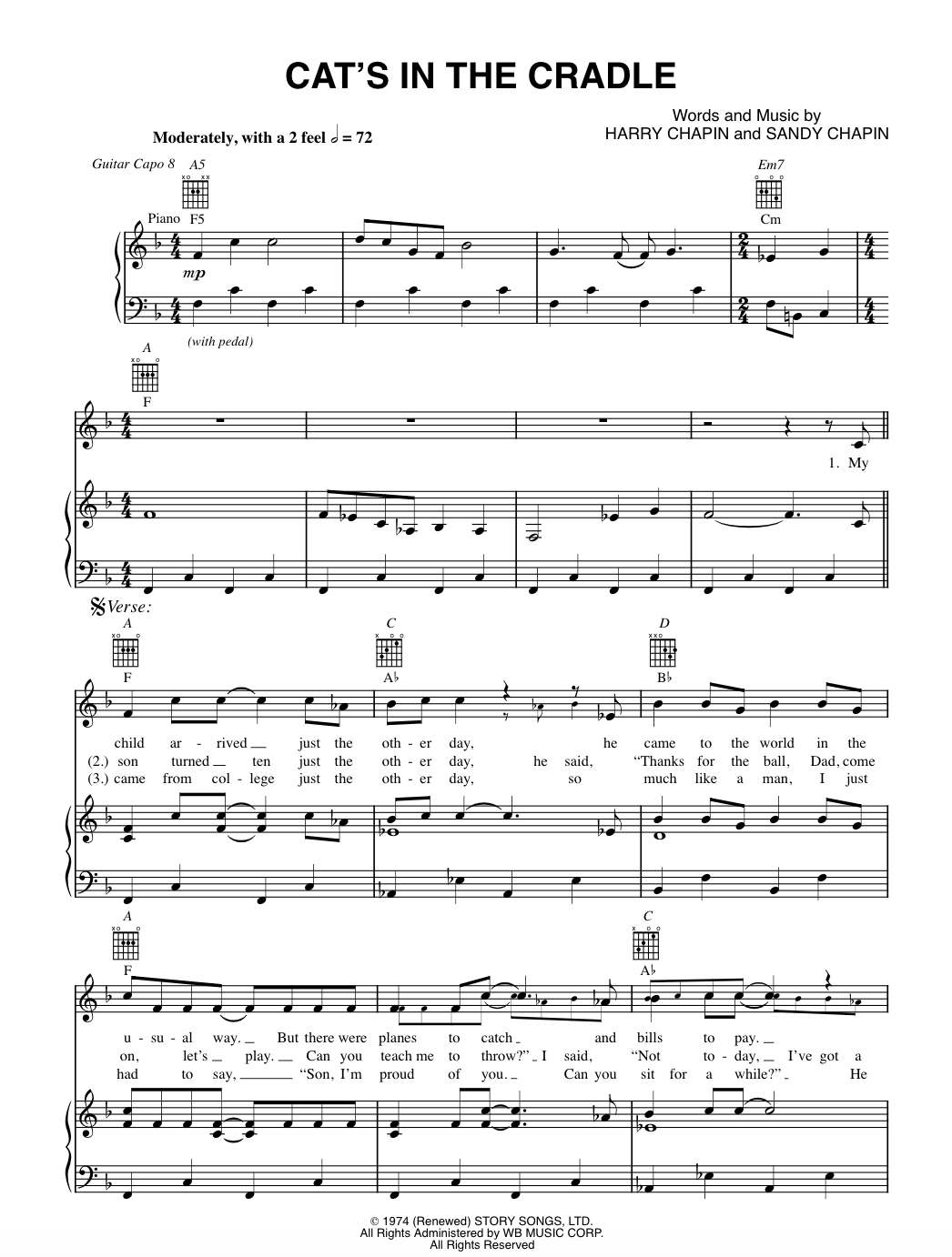 Cat's in the Cradle by Harry Chapin sheetmusic arranged