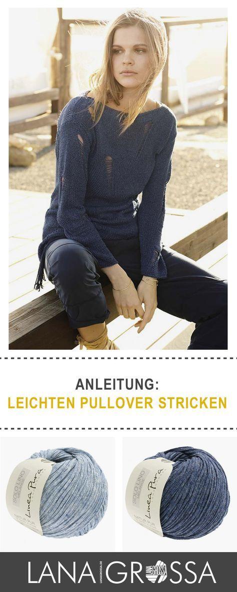 """#Gratis #Strickanleitung für einen Pullover mit Fallmaschenmuster aus Lana Grossa """"Solo Lino Mélange"""" / #free knit tutorial for cool sweater via lanagrossa.de"""