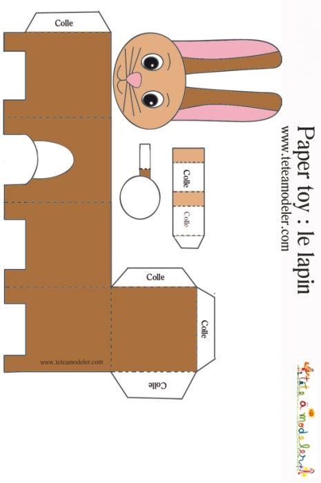 Paper toy lapin imprimer pour faire un jouet en papier t te modeler jouets papier et - Patron de maison en papier a imprimer ...