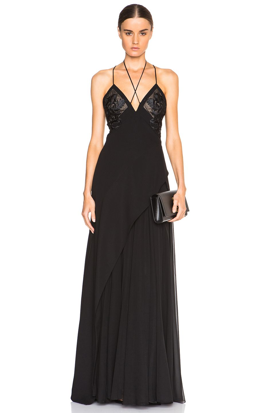 1500710b0507 Image 1 of J. Mendel Crepe Negligee Gown with Lace Applique in Black ...