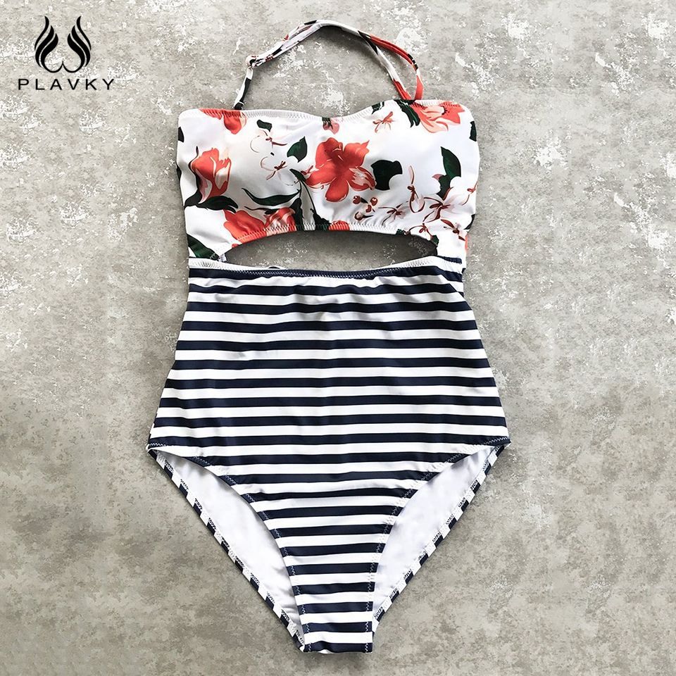 PLAVKY Sexy Halter Bandeau Floral Streifen Hohe Taille Schnitten Trikini Swim Badeanzug Monokini Bademode Frauen Badeanzug