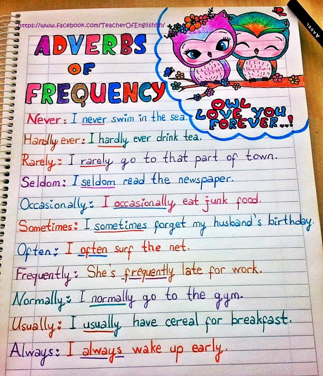 Adverbs Of Frequency En