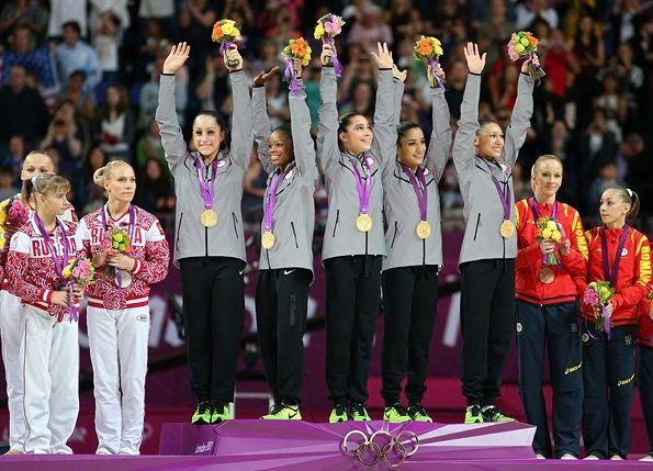 McKayla Maroney, Jordyn Wieber, Gabrielle Douglas, Alexandra Raisman and Kyla Ross with their gold medals for the Artistic Gymnastics Women's Team final