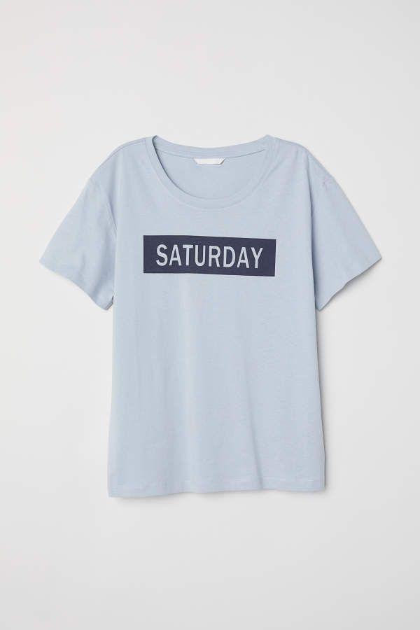 H M H M Top With Motif Light Blue Saturday Women Saturday Shirt Mens Tops Tops