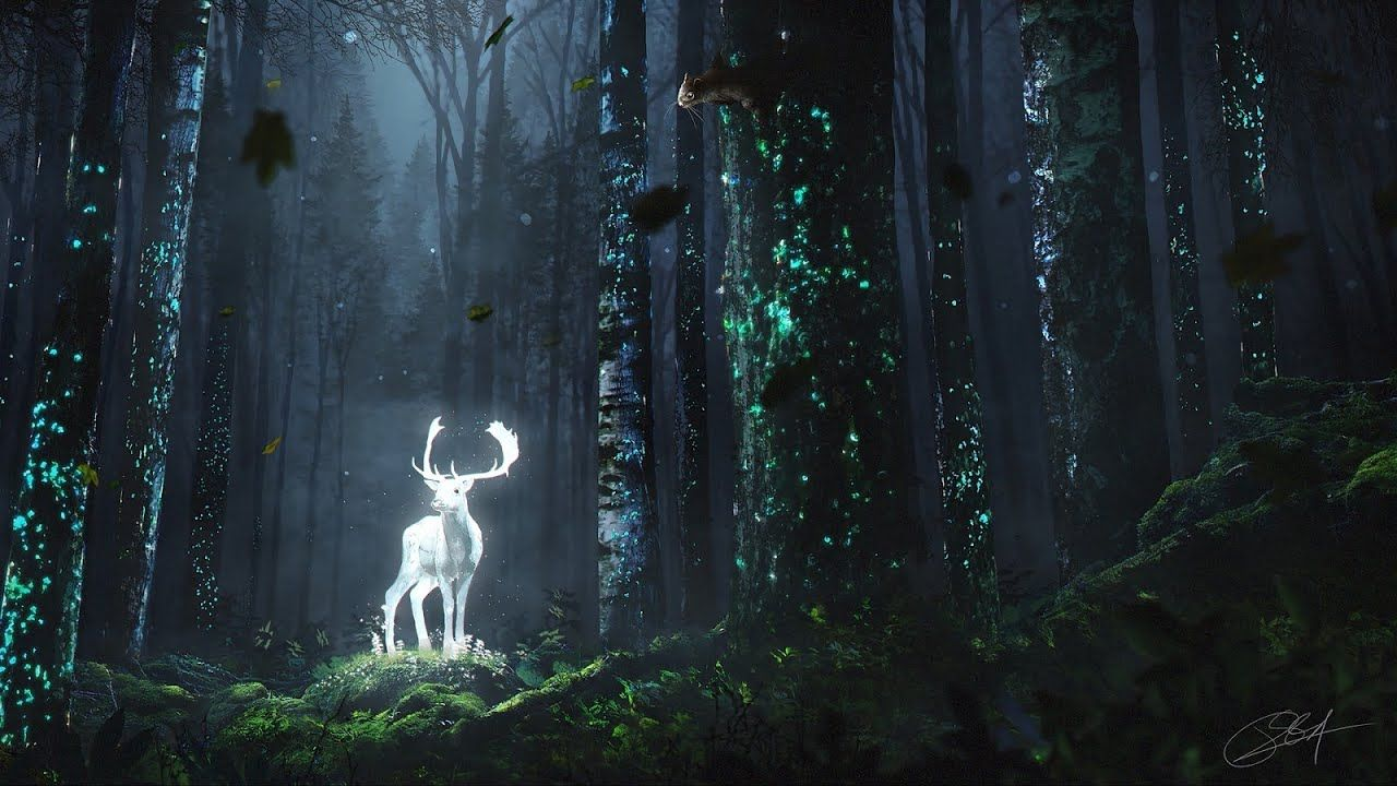 Most Beautiful Soothing Music 1 Hour Relaxing Piano Flute Music Fo In 2020 Glowing Art Night Forest Deer Wallpaper