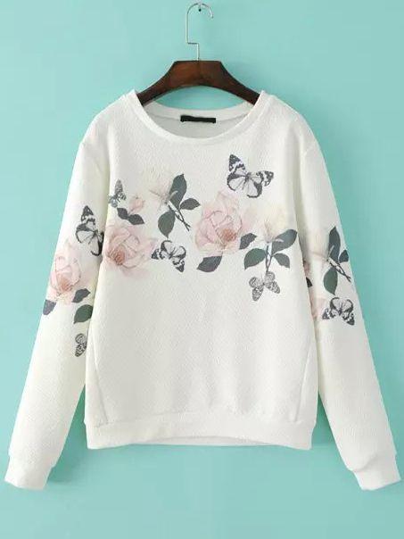 White Round Neck Floral Butterfly Print Sweatshirt