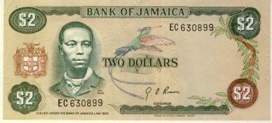 Jamaica 1970 Two dollars AU+