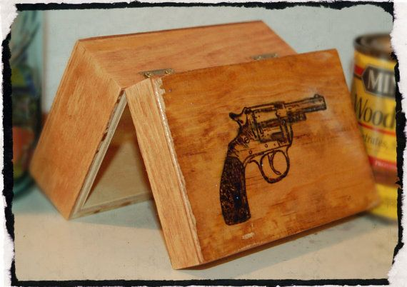 Small Trinket Box with Gun Burned on Top  by BeautifulPursuits