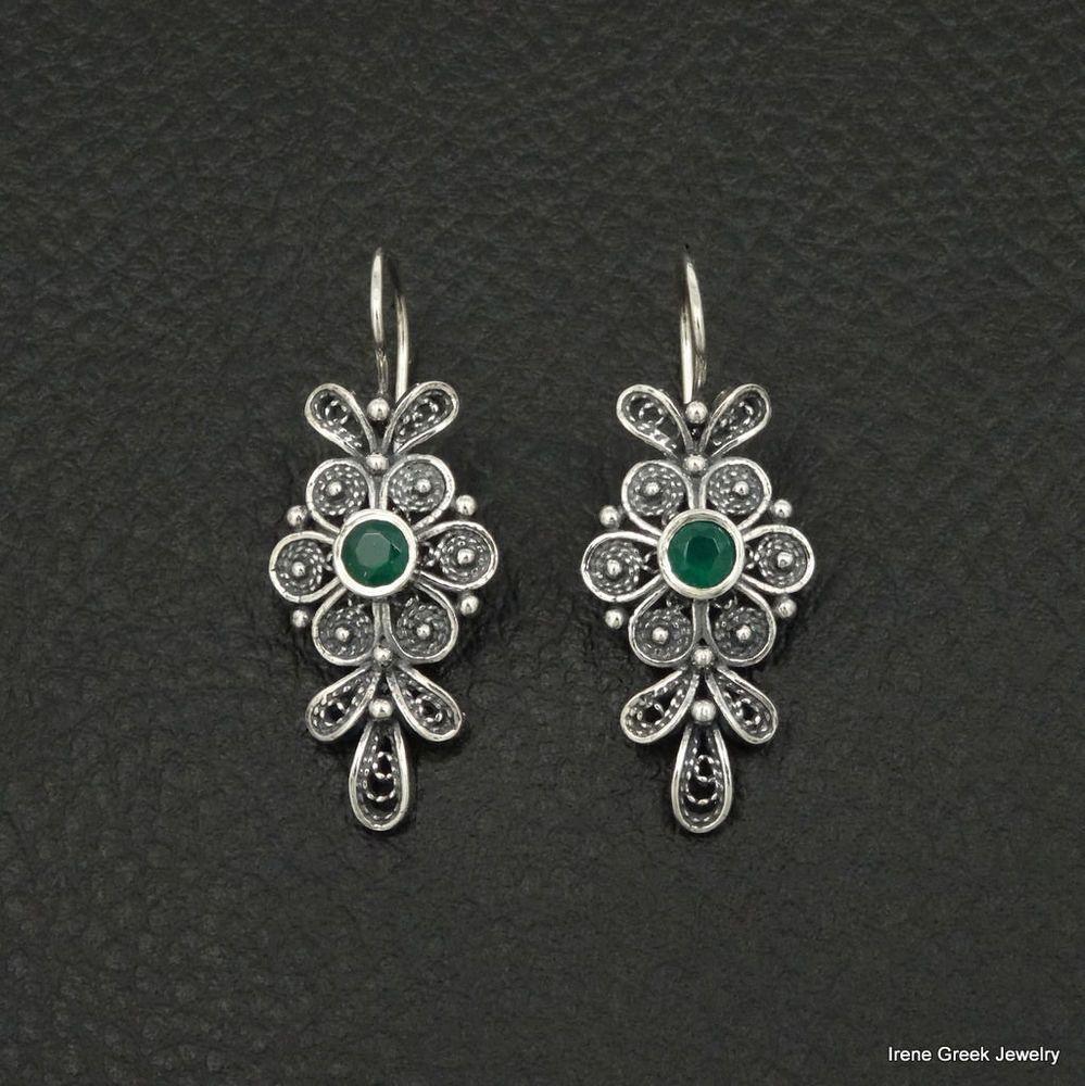 NATURAL GREEN ONYX FILIGREE FLOWER STYLE 925 STERLING SILVER GREEK ART EARRINGS #IreneGreekJewelry #DropDangle