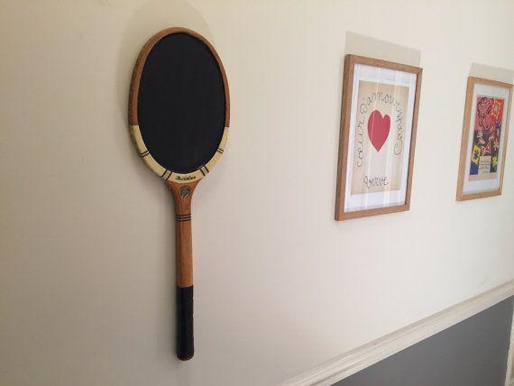 Chalkboard from vintage wooden tennisracket