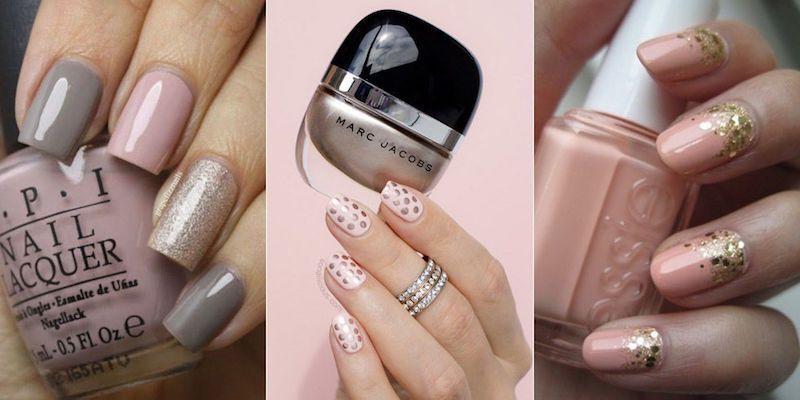nail art rose poudre
