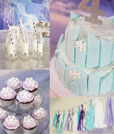 Gorgeous blue and purple Frozen birthday party! See more party ideas at http://CatchMyParty.com!