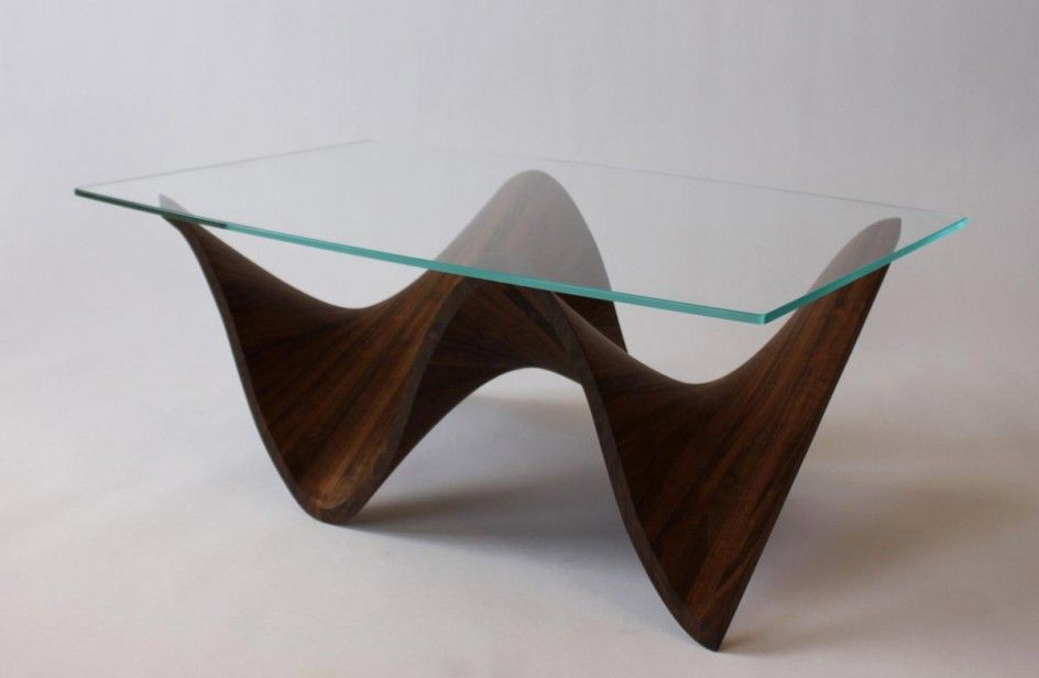 Dark Wood Coffee Table: Awesome Sculptural Wooden Table Design Of Wave  Series