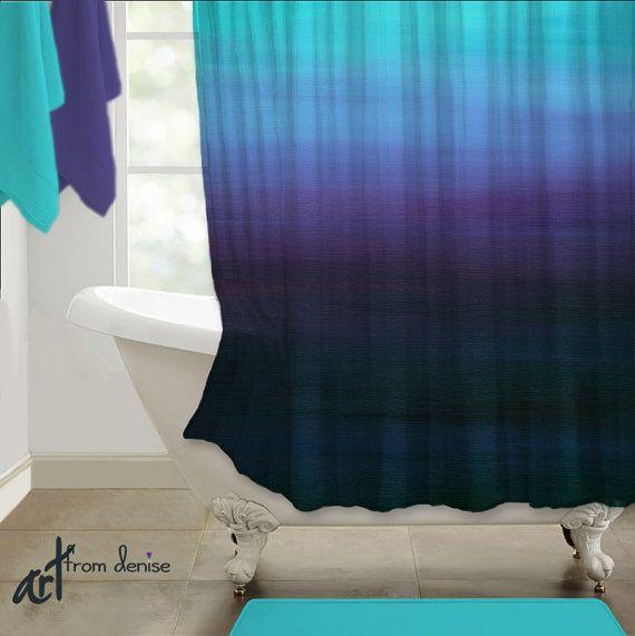 Abstract Shower Curtain Art. Aqua, Teal Blue, And Purple Bathroom Decor By  Denise