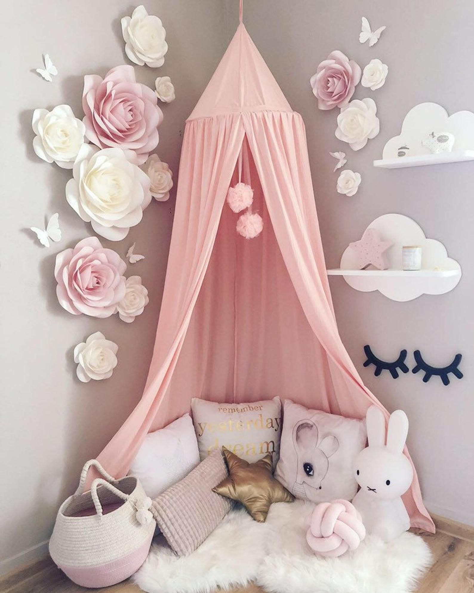 Blush Pink Nursery Paper Flowers Wall Decor - Baby Girl Room Paper Flowers - Nursery Paper Flowers - Paper Flower Decor - Nursery Wall Decor