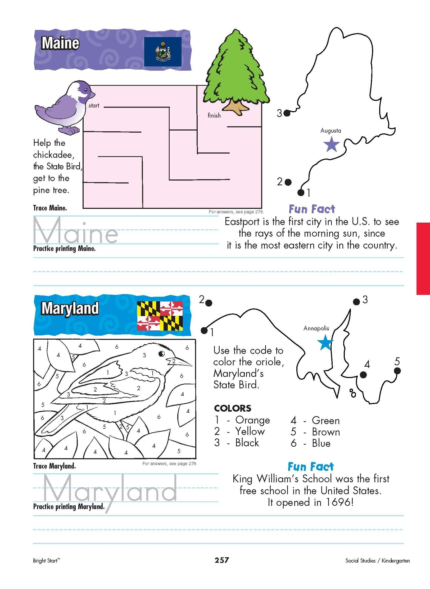 Maine And Maryland Your Kindergartener Can Practice