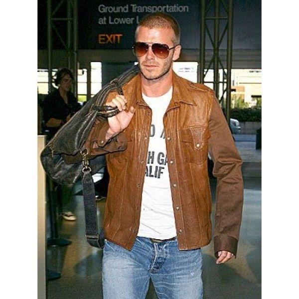 Brown Leather Jacket-David Beckham Celebrity Leather Jacket ...