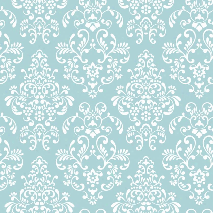 Turquoise Damask White Wallpaper