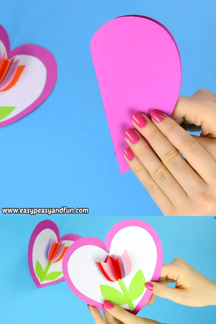 Photo of Tulip in a Heart Card Paper Craft for Kids