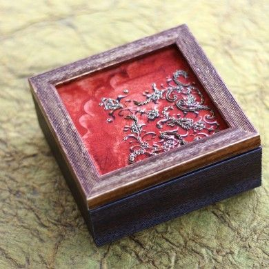 Small Zardozi Box - Red - A beautifully decorated wooden box with intricate zardozi patterns in vibrant red.