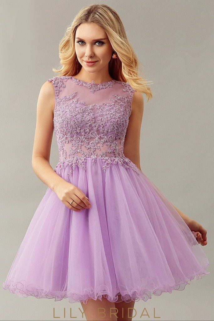 3774 - Lilac off the shoulder chiffon dress with a lace