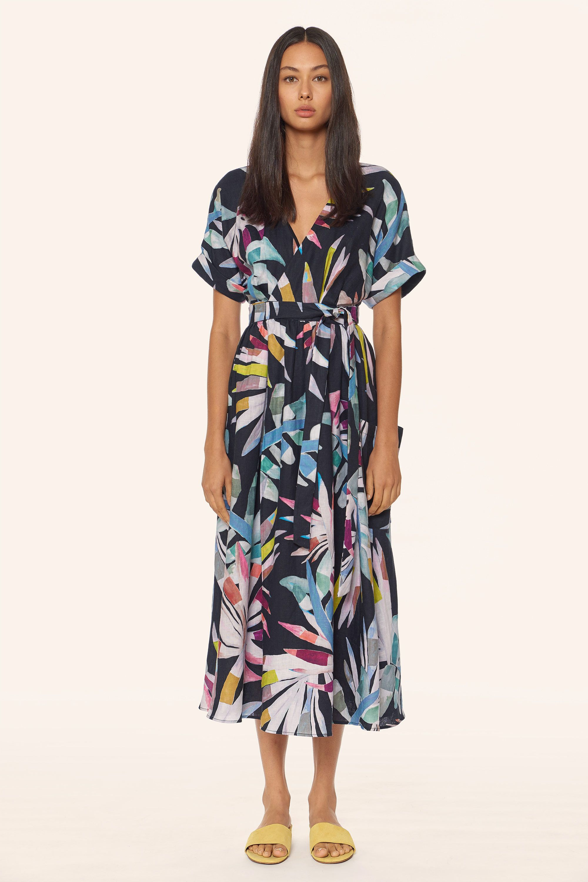 1fbe9420d42 Be bold with this Midi wrap Dress. With kimono sleeves and a belt