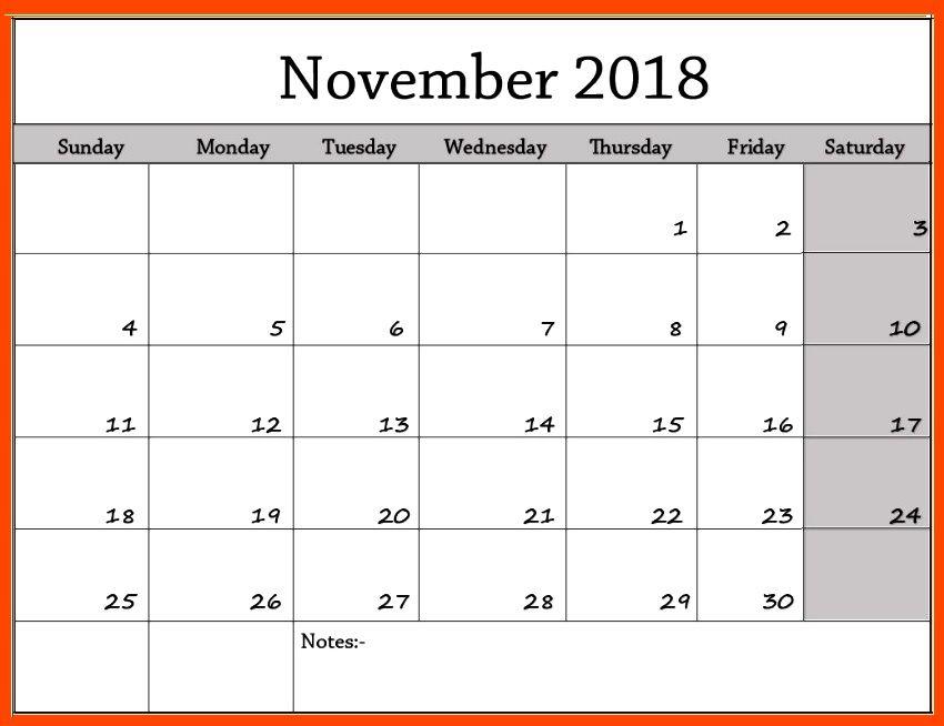 November Printable Calendar 2018 November 2018 Calendar