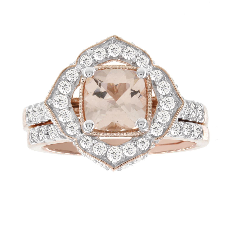 H Star 14k Rose Gold 1ct TDW Diamond and 1 1 4ct Morganite Bridal
