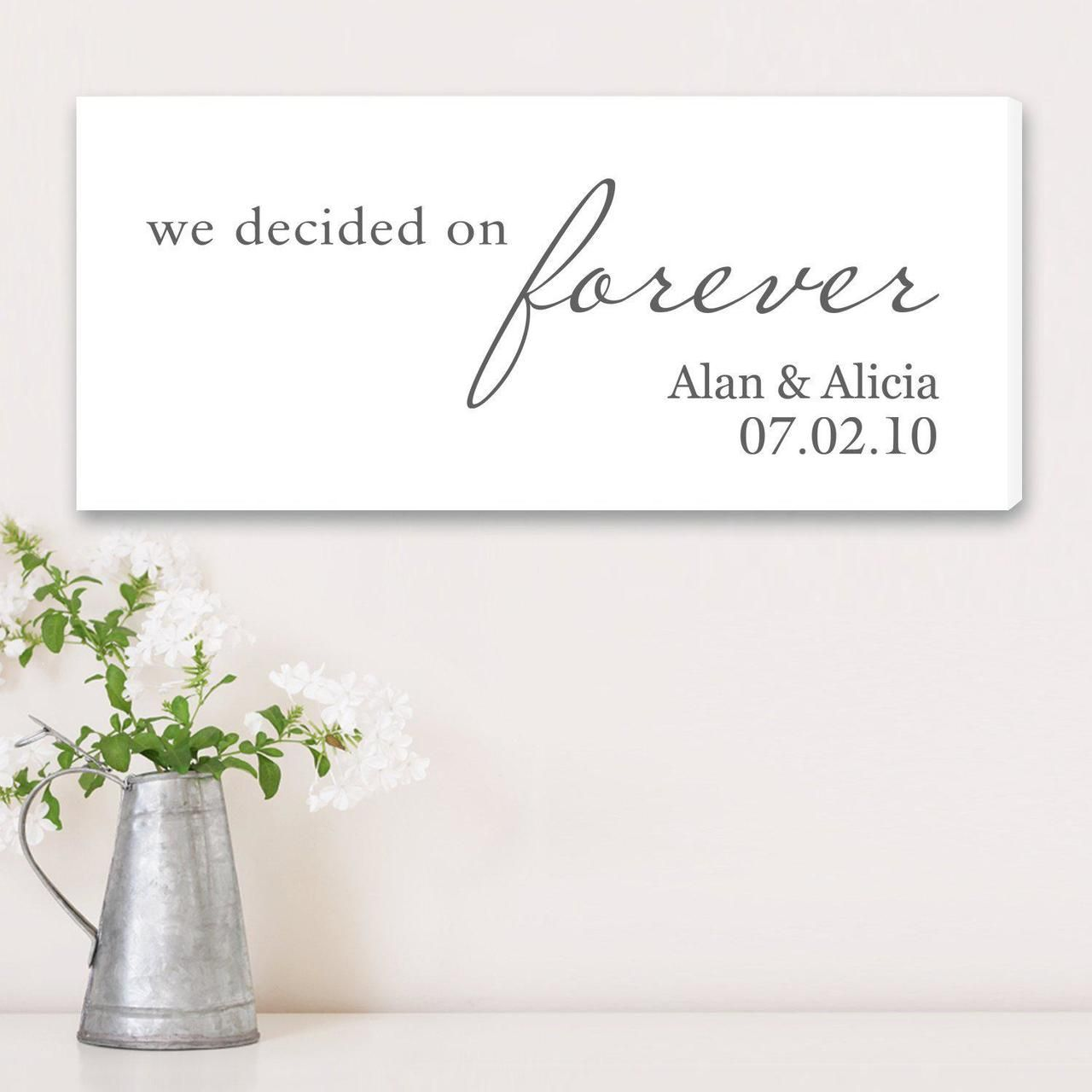 We Decided On Forever Canvas Wedding Canvas Wedding Prints Forever Wedding