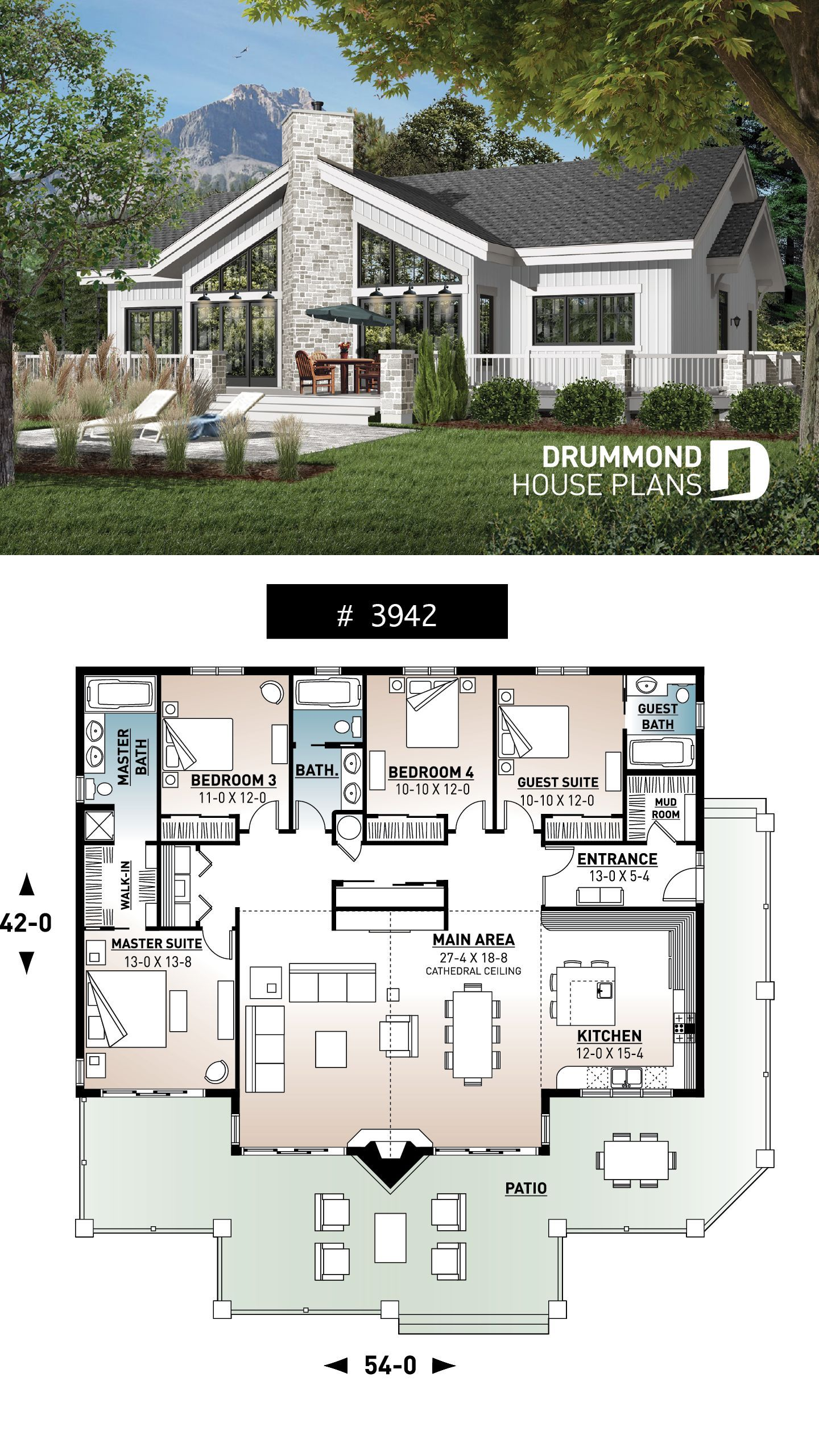 cathedral ceiling, 4 bedrooms, 3 bathrooms, 2 master suites, large terrace # 3942 #Bedrooms #House #lake house plans #Lakefront #Plan