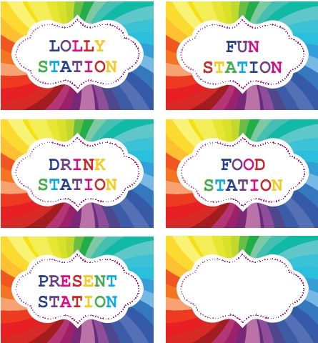 Rainbow Party Printable Labels For Table Setting Rainbow