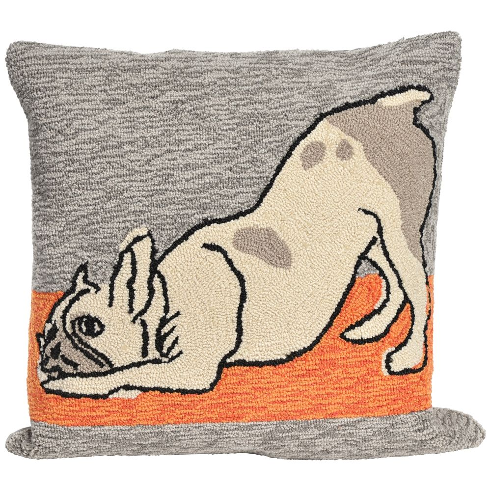 """Frontporch Yoga Dogs Heather 18"""" Indoor-Outdoor Pillow - Style # 9M231"""
