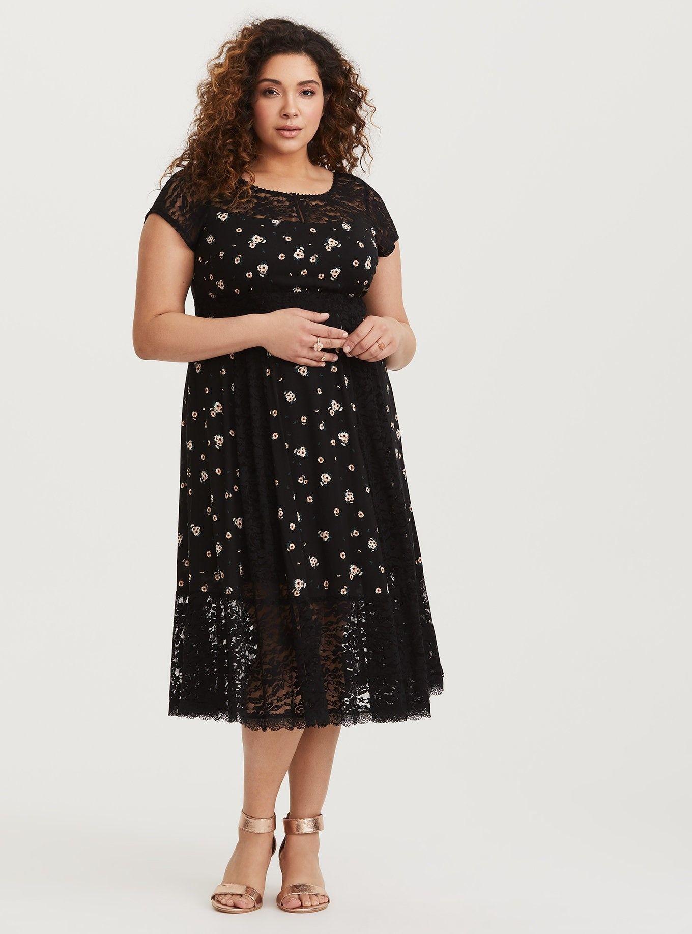 Black Sunflower Challis Midi Dress Dresses Challis Dress Pluse Size Dress [ 1836 x 1360 Pixel ]