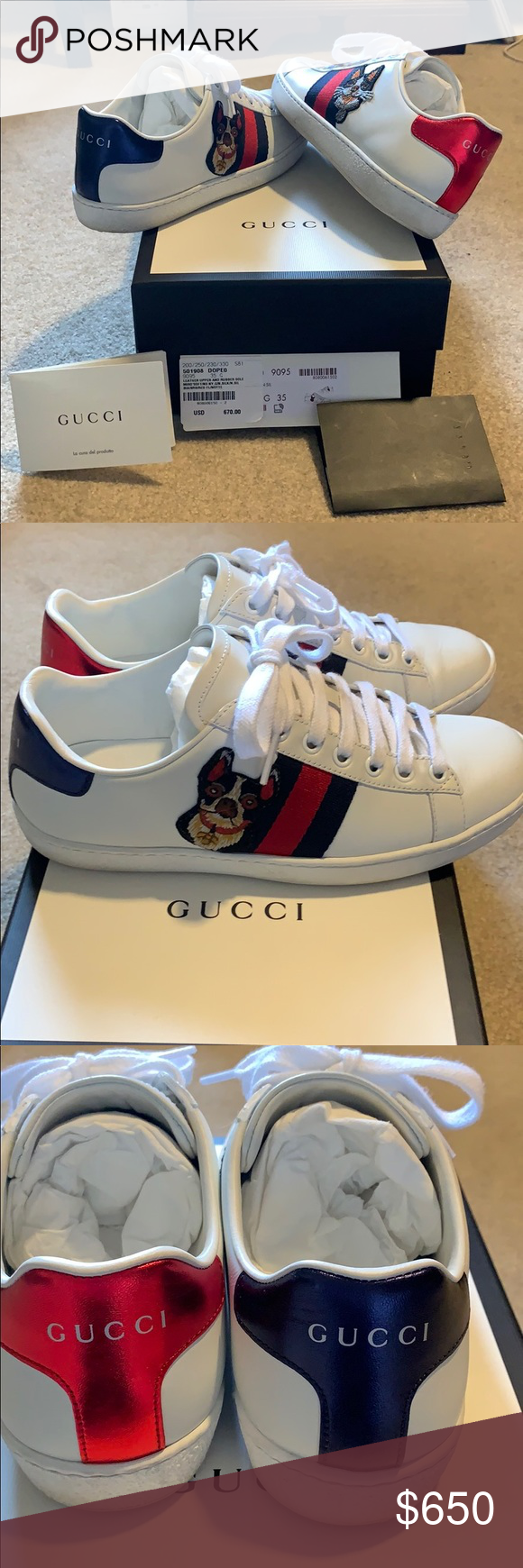 47b182e3b Gucci Ace Embroidered Sneakers - Dog Cult favorite Gucci Ace Sneakers. Used,  worn about