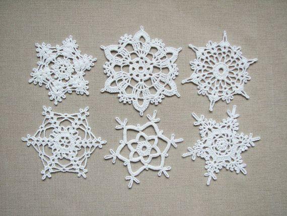 Lace snowflakes Crochet Christmas home decors Xmas ornaments Wedding ...