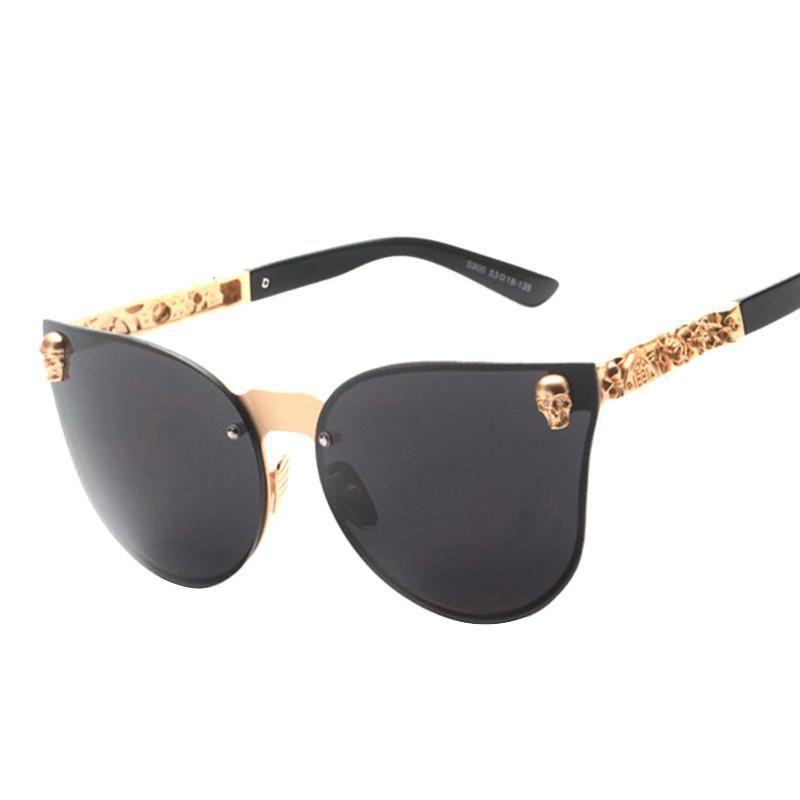 Summer Rimless Skull Design Cat Eye Sunglasses Polycarbonate Frame Protection