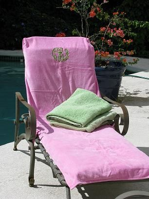 Attirant Monogrammed Lounge Chair Cover With Pockets
