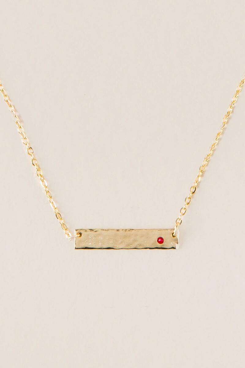 July Birthstone Swarovski Crystal Bar Pendant