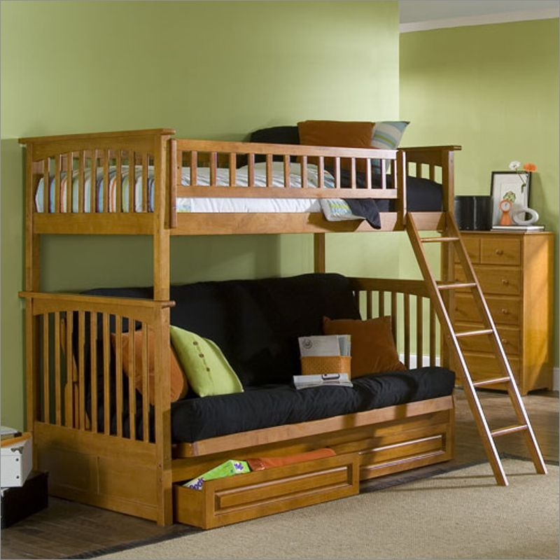 Atlantic Furniture Columbia Style Twin Over Futon Bunk Bed With Wood Frame And Drawers In