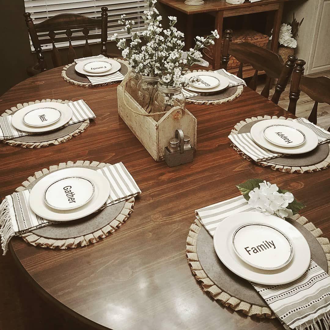 Mycircusmymonkeysmylife Table Setting Tablescape Place Setting Farmhouse Dining Table Dining Table Placemats Dark Wood Dining Table Farmhouse Table Decor