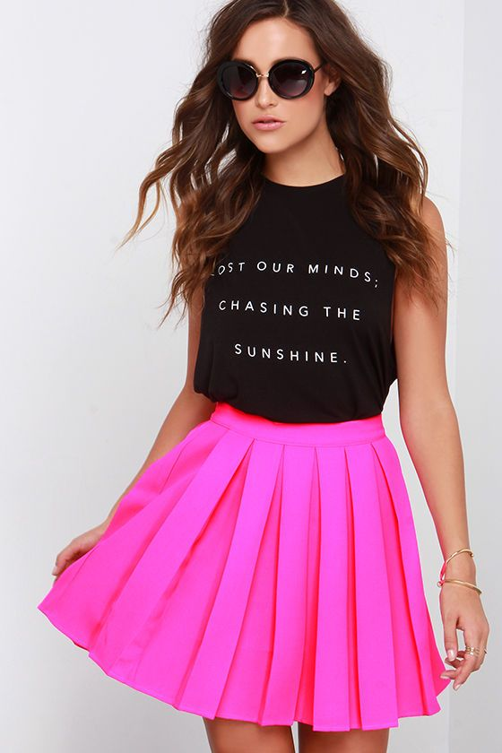 2d239ffa3 Have you been hoping for a pretty skirt to come your way? Then you'll be  excited to see the Beg and Pleat Hot Pink Skater Skirt! This woven hot pink  stunner ...