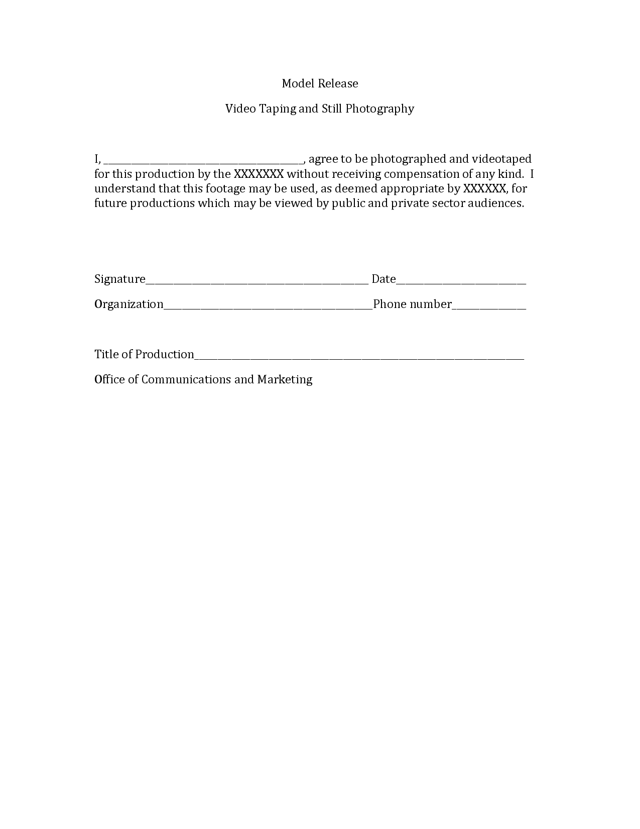 Photography Print Release Form Sample photography – Sample Video Release Form
