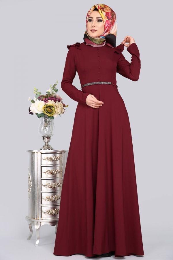 Yeni Urun Tas Kemerli Tesettur Elbise Bordo Urun Kodu Mds2032 104 90 Tl The Dress Musluman Modasi Elbise