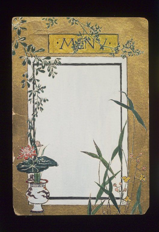 Brooklyn Museum: American Art: Menu Card Decorated with Bamboo and Flowers