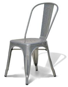 amazon: stella metal cafe side chair in brushed galvanized