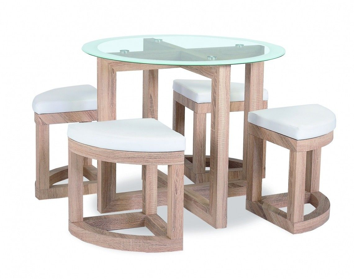 The quarry dining set is a compact dining table and stool for High chair dining set