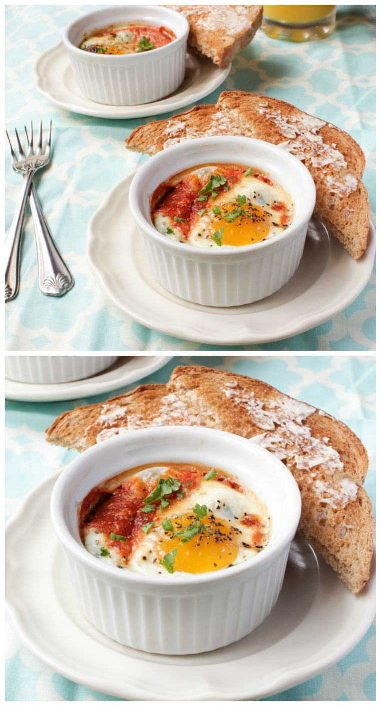 Baked Eggs with Parmesan, Spinach and Tomatoes is a breakfast of the champions!